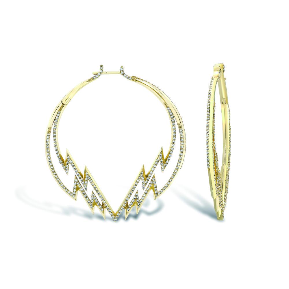 Electra Hoop Earring Yellow Gold Diamonds