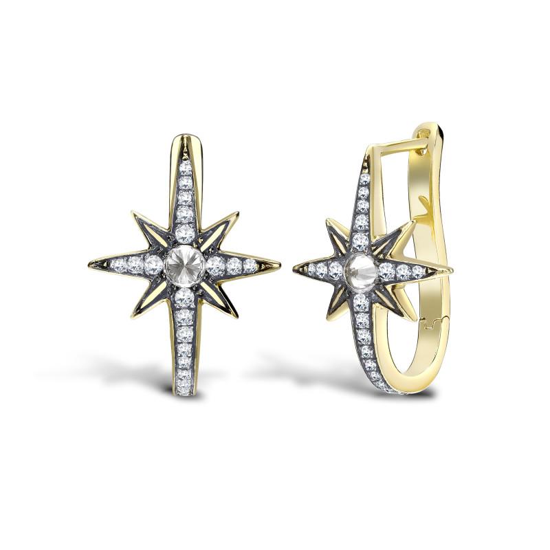 Venyx Star Earring Yellow Gold, Diamonds, Sapphire