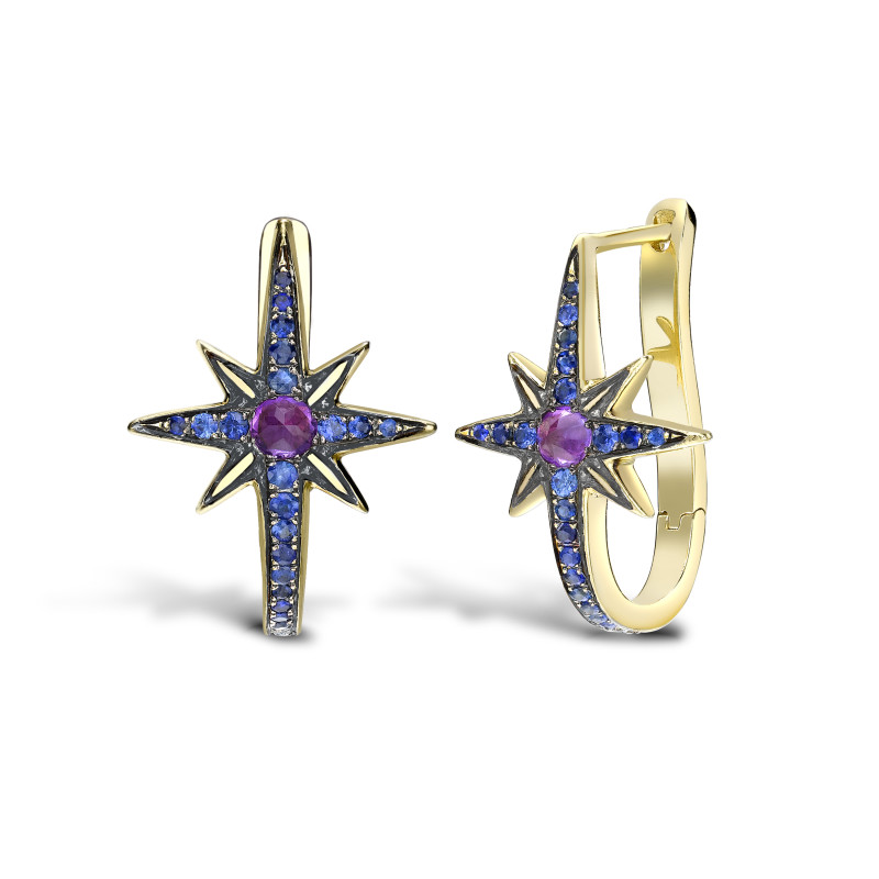 Venyx Star Earring Yellow Gold Sapphires and Amethyst