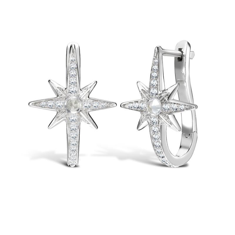 Venyx Star Earrings White Gold Diamonds, Sapphire