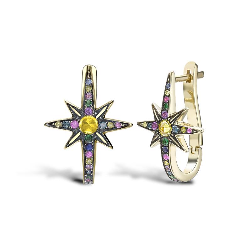 Venyx Star Earrings Yellow Gold Multi Coloured Stones
