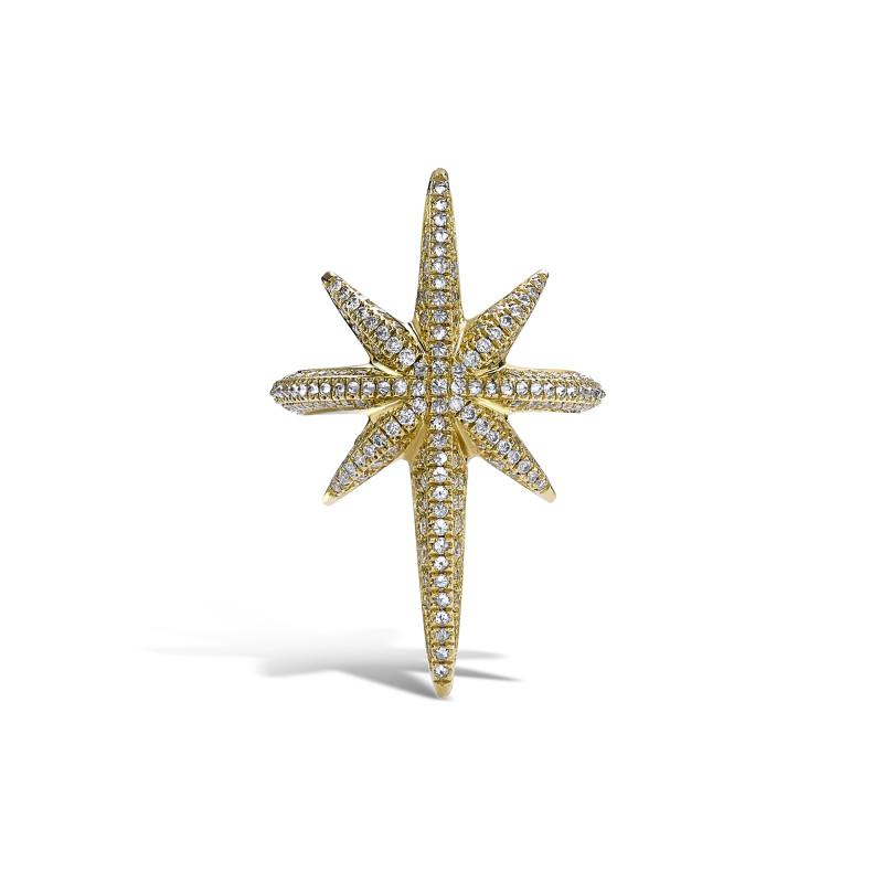 Venyx Star Ring Yellow Gold Diamonds White Sapphire