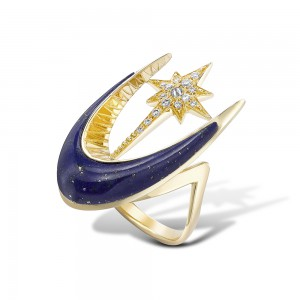 Lapis Parrot Star Fish Ring